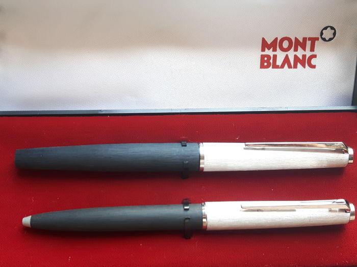 Montblanc duo set - fountain pen (225) with 14k gold nib and ballpoint (285) - in original box