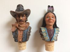 Two wine corks, Indian and cowboy - handmade - second half 20th century.
