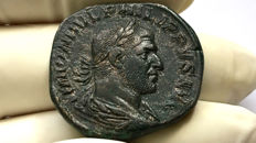 Roman Empire - Philip I. AD 244-249. Æ Sestertius Rome mint, 1st officina. 6th emission, AD 247.