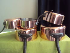 Set of five copper pan, stainless steel inside (never used)