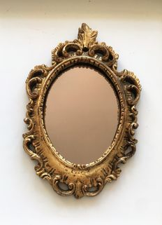 Antique gold-plated French hand-carved baroque mirror, mid 20th century