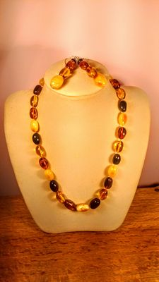 Genuine Baltic amber olive shape mix colour set, necklace and earrings, 51 gram