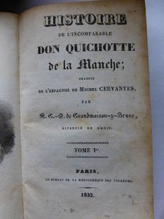 Miguel Cervantes de Saavedra - l'Incomparable  Histoire de Don Quichotte de la Manche - 4 volumes in 2 bindings - 1832