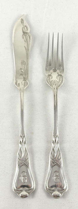 Heinrich Vogeler for M.H. Wilkens - six silver fish cutlery - Model ' Herbstzeitlose '