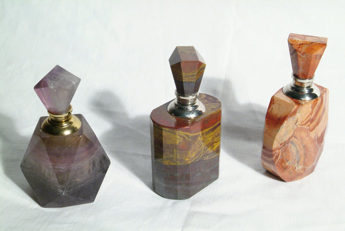 Three very interesting and rare flagons from precious minerals (probably agate, jasper and jade/marble?)