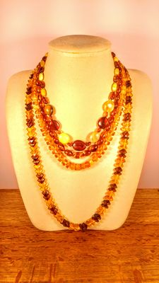 Set of 4 Genuine Baltic amber multicolour necklaces, 63 grams