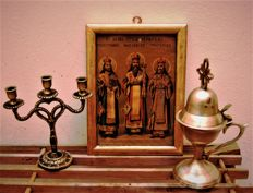 Collection of a litho icon, a bronze candlestick and a burner - late 19th century