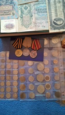 Russia-The collection,coin,paper money,WW2 merit,badges.