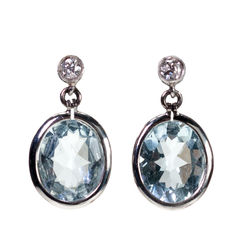 Aquamarine, Diamond, Platinum Earrings