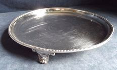 Old English silver plate salver drinks tray with Victorian engravings by Gieves Ltd, Period: 1900