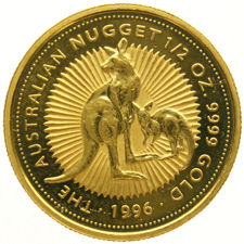 "Australia – 50 dollars 1996 ""Australian Nugget (Kangaroo)"" – ½ oz of gold"