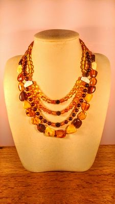 Genuine Baltic amber necklace, set of 2 pieces, 68 grams