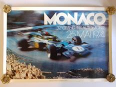 Original poster of the Grand Prix Automobile of Monaco - 1974