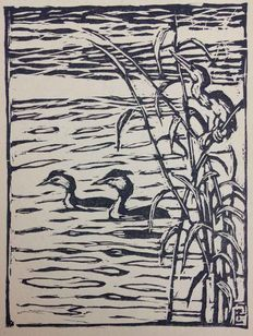 Two prints by Emil Pottner (1872 - 1942) - 'Twee futen en roerdomp' and 'Ganzen in het water'- circa 1917