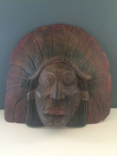 Old wooden Indian head, hand made.