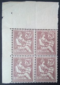 France 1900-01 – 'Mouchon retouché', 20 c brown and lilac, block of 4, signed Roumet with certificate – Yvert no. 126.