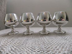 Set of 4 silver cordial shots goblets, The Gorham Manufacturing, Rhode Island, 1863-1890