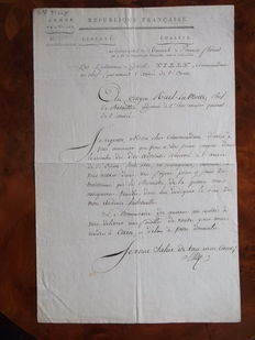 Autograph letter written and signed by Commanding General THILLY of the West Army of NAPOLEON on April 21, 1801