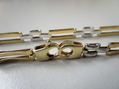 White and yellow gold fantasy link bracelet in 14 kt - 18.5 cm