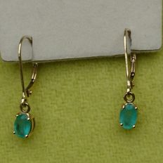 575 Yellow Gold Boyaca Colambian Emerald Earrings