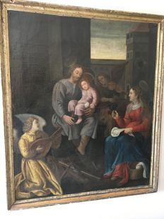 North European School-17th century-Holy Family-Mary and Joseph with child