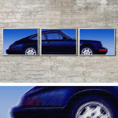 Porsche Design image in 3 aluminium frames: 964 blue - each 41x31 cm, total: 127x31 cm