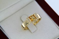 18 kt gold ring with citrine and diamonds 0.02 ct — Size 56