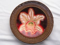 Cloisonné plate with rim of woven bamboo - Japan - Early 20th century