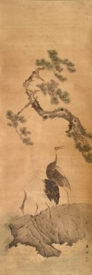 Large handpainted scroll painting on cloth depicting two cranes, signed and stamped - Japan - 19th century