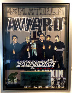 XXL Linkin Park Meteora TECA Thailand 4x Platinum Music Award - original Sales Music Record Award ( Golden Record )