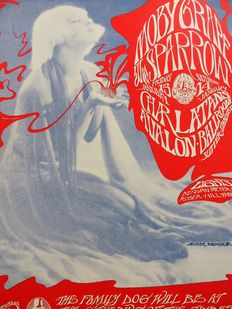 """Rare psychedelic """"Moby Grape, Charlatans """" Dance Concert Poster San Francisco 1967"""