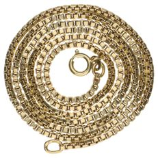 14 kt yellow gold Venetian link necklace - 60 cm