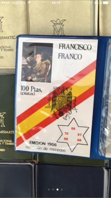 España - Francisco Franco - Carterita- 100-Pesetas - 1966-66-67-68-69-70–Madrid
