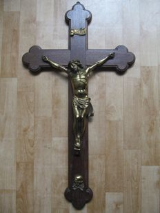 Large wooden cross with bronze corpus 72 cm-Belgium-ca. 1900