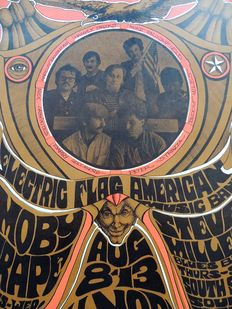 "Rare psychedelic ""Moby Grape, Steve Miller Blues Band "" Dance Concert Poster San Francisco 1967"