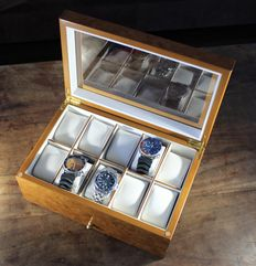 Luxury Light Burr Walnut Wood Finish Watch Box - with lower draw for further watches, cufflinks etc - in new condition
