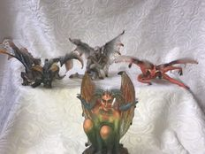 Collection of 4 beautiful sculptures, statues  of Satan, the devil, Pan, satirs, Diablo, Lucifer, fallen angels - PCT, Veronese, Sheila Wolk - 2008