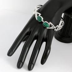Solid .925 Sterling Silver, 11x15 mm Malachite Bangle Bracelet,   - Weight :  33.9 Grams, Diameter: 60 mm