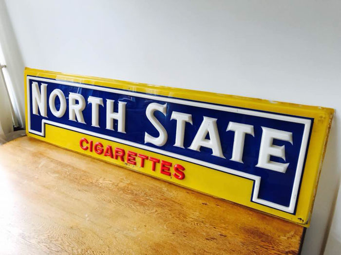 North State Cigarettes - Hard plastic advertising sign - ca. 1960