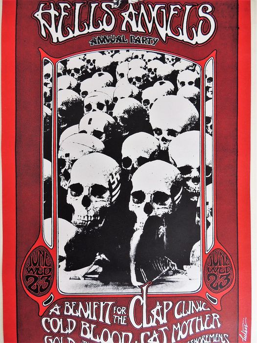 "Rare psychedelic  ""Hells Angels Party"" Dance Concert Poster San Francisco 1971"