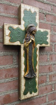 Very rare antique wooden Crucifix with Mary Magdalene.
