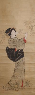 "Handpainted hanging scroll ""Beauty in Kimono"", sealed and signed by Okyo - Japan - Late 19th century"