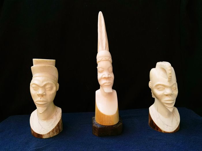 3 African male bust in Ivory - Congo