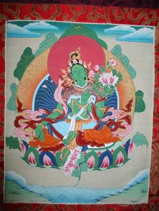 Green Tara Painting (silk thangka) - India - end of 20th/21st century