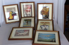 Collection of 7 squares with old art prints within picture frame with glass.