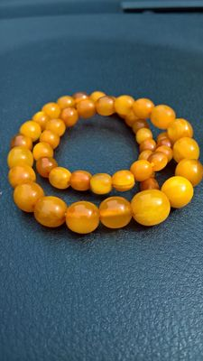 Old natural Amber beads necklace egg yolk colour, 24.4  grams