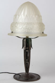 Schneider - Art Deco table lamp with wrought iron base