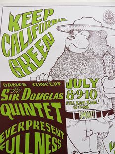 "Rare psychedelic ""Stanley Mouse and Alton Kelly "" Dance Concert Poster San Francisco 1966"