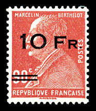 France 1928 - Airmail, Berthelot 10 f. on 90 c. red, spaced overprinting, signed Brun and Calves with certificate - Yvert no. 3a
