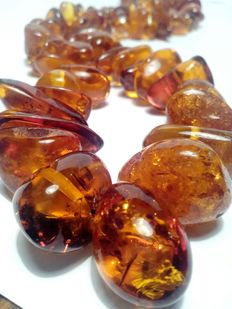 Two amber necklaces. 56 long and 60 cm long